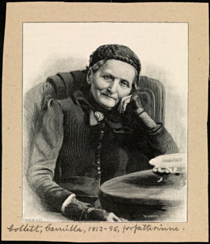 Camilla Collett 80 år gammel. Xylografi etter fotografi tatt av sønnen Robert Collett i 1893. (Foto: Nasjonalbiblioteket)