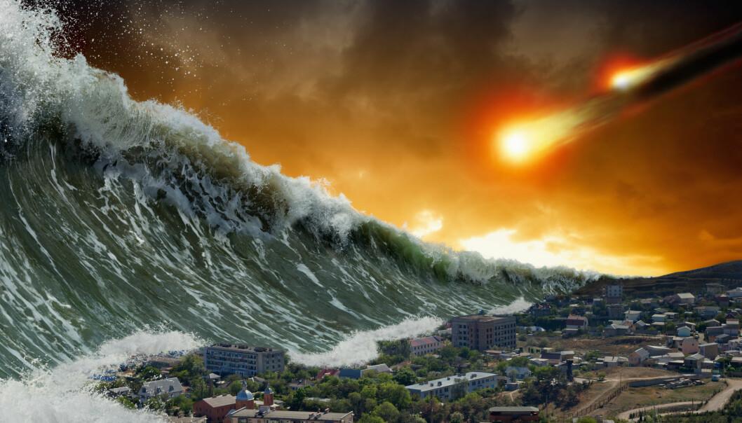Her har en bildekunstner forsøkt å forestille seg hvordan det kan bli om en meteoritt skaper en gigant-tsunami som treffer land.