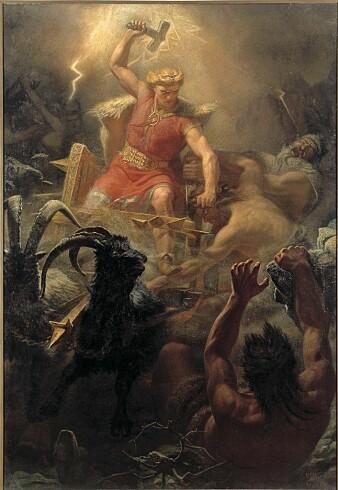 Mjølner (Mjölnir på engelsk) er hammeren til den norrøne tordenguden Tor. Mjølnir betyr «den som knuser til støv». Tor brukte hammeren som et våpen i kampen mot jotnene. Her på et maleri av Mårten Eskil Winge fra 1872.