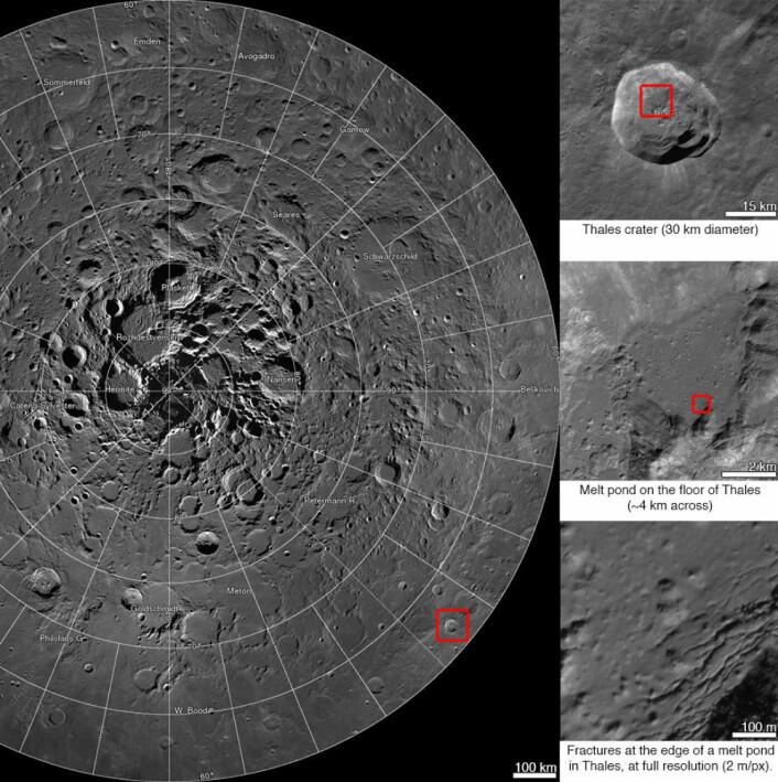 Her ser vi Thales-krateret i tre forskjellige zoomnivåer. (Foto: NASA, GSFC, Arizona State University)