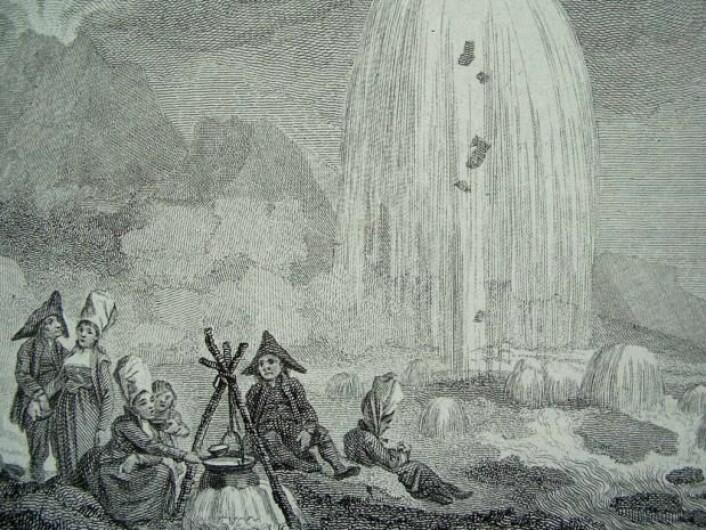 Naturbarn i det fantastiske landskapet på Island, illustrert i John Truslers bok 'The Habitable World Described', London, 1788.