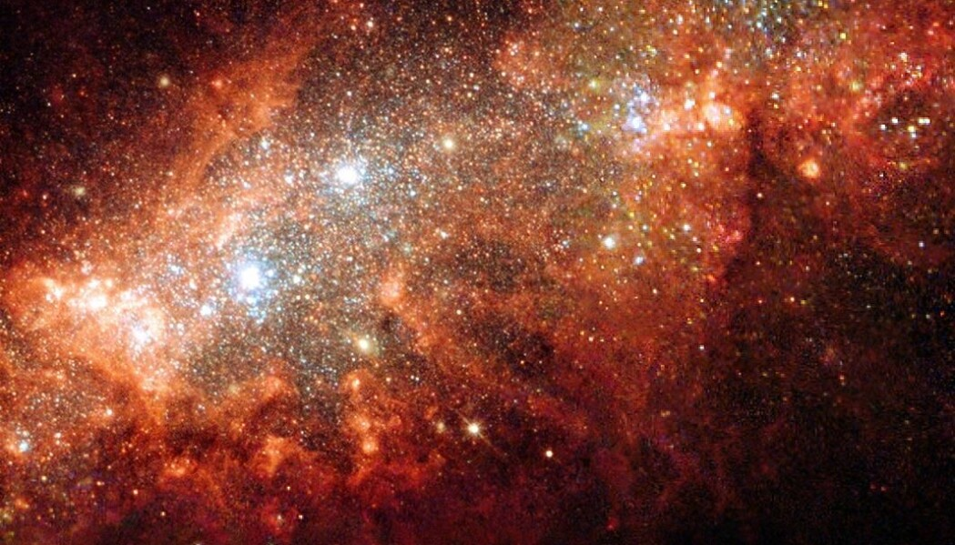 I alle stjerner moses grunnstoffer sammen. Dette danner nye grunnstoffer, og frigjør energi. Bildet viser dverggalaksen NGC 1569.
