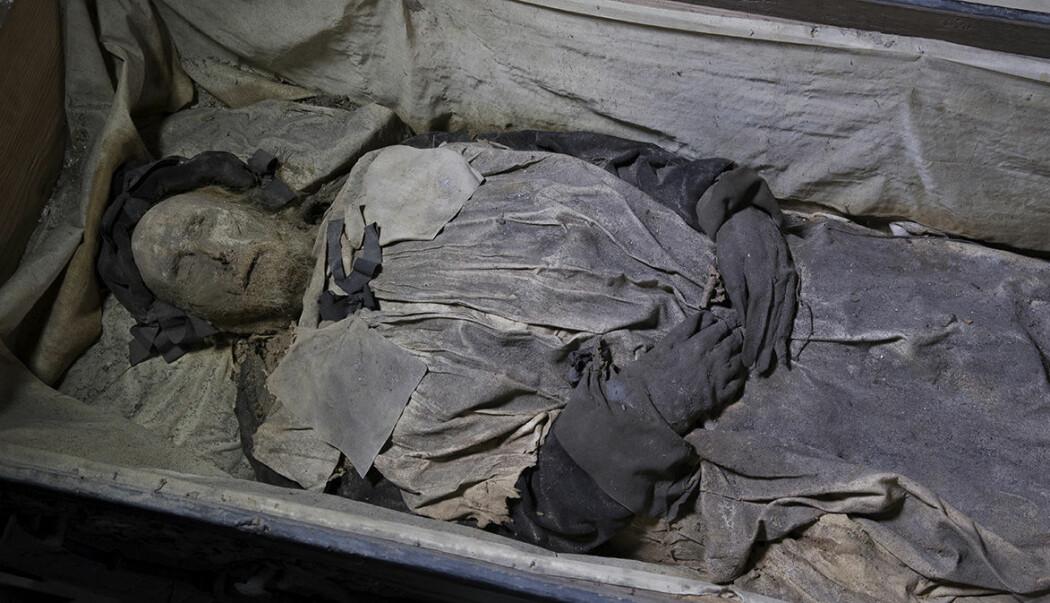 Mumien av biskop Peder Winstrup er så godt bevart at forskere fant DNA-rester av tuberkulosebakterier i lungene.