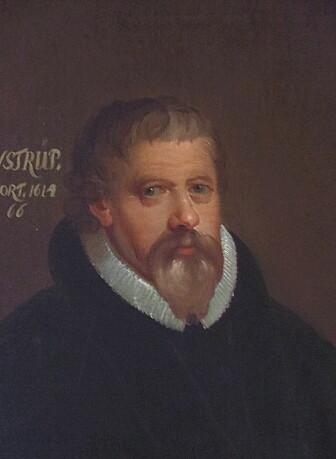 Dette portrettet viser biskop Winstrup da han levde på 1600-tallet.