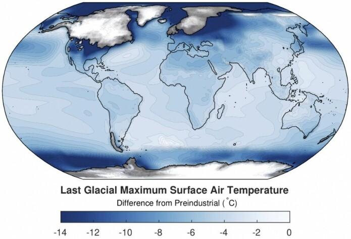 Kartet viser hvor mye kaldere det var på kloden ved siste istids maksimum sammenlignet med førindustriell tid. Isdekket er også tegnet inn.
