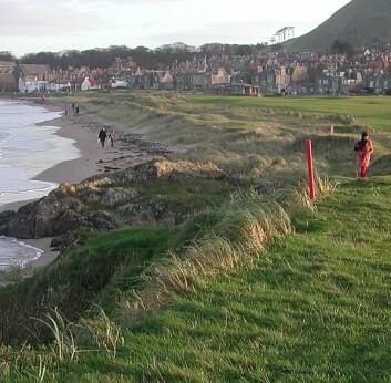 """""""Folk på tur mellom golfbanen og sjøen ved Nort Berwick, Skottland."""""""