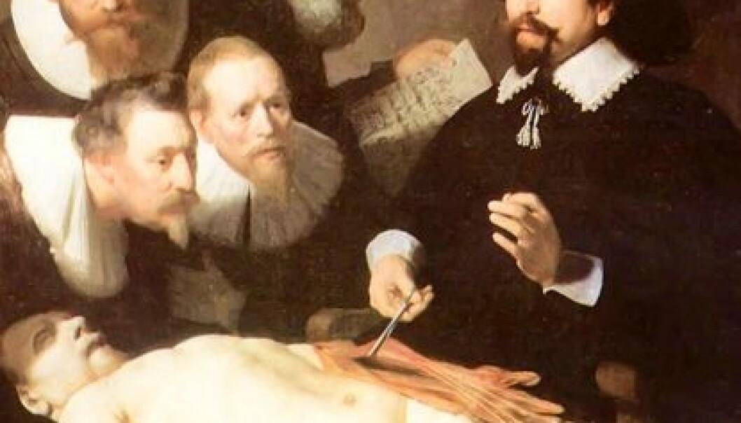 Rembrandts Doktor Tulps anatomiforelesning. (Illustrasjon: Wikimedia Commons)