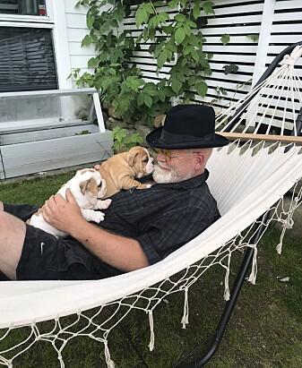 Arne Øygarden er leder av Norsk Bulldog Klubb. Det er den engelske bulldogen som står han nærmest.