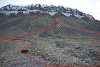 Et jordskred er uforutsigbart, og kan spre seg bredt utover fra et lite startpunkt. Den røde streken viser hvor bredt dette skredet, på Svalbard, ble da det først satte i gang. (Foto: NGU)