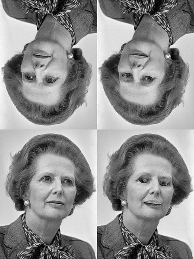 Hjernene våre er lynraske til å «rydde opp» i det vi ser på. Noen ganger, når hjernene våre har ryddet opp i et bilde, legger vi ikke merke til endringer som omvendte øyne og lepper. Fenomenet blir blant annet kalt «Thatcher-effekten» fordi den ble lagt fram i en engelsk studie i 1980 som brukte et bilde av Margaret Thatcher.