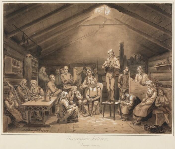 """Adolph Tidemands motiv """"Haugianerne"""" er godt kjent. Haugianerne var tidlig ute med mange nye tanker i tiden, og de engasjerte seg i alt mulig. Så det var ikke merkelig at de også grep muligheten som ga seg gjennom grunnlovsarbeidet på Eidsvoll. (Foto: (Bilde av Adolph Tidemand))"""