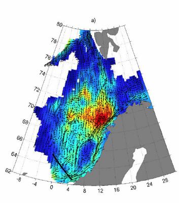 Utenfor Lofoten oppholder vannet i havsstrømmen seg ekstra lenge. Her avgir havet spesielt mye varme. (Illustrasjon: Poleward)