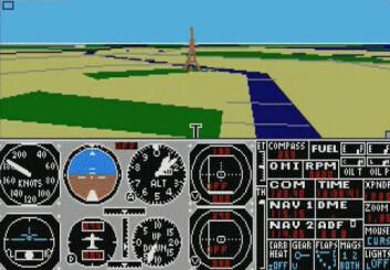 """""""Slik så Microsoft Flight Simulator ut på åttitallet, da virtuell virkelighet først ble lansert i spillehaller."""""""