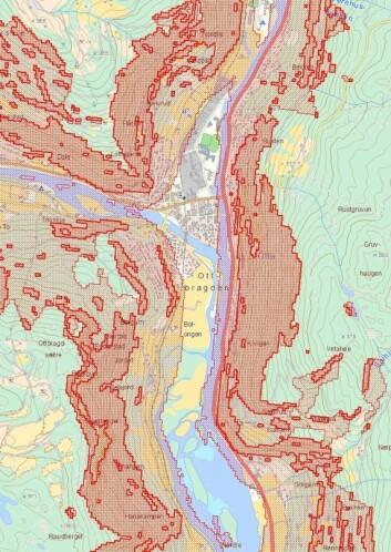 Aktsomhetskartet for snøskred dekker store deler av Sel kommune og Otta med aktsomhetssoner. Om jordskredkartet hadde blitt like omfattende, ville det blitt nærmest ubrukelig for kommunen. (Foto: (Bilde: skredatlas.nve.no))