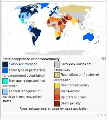 Verdens land om homofili. (Foto: (Illustrasjon: Wikimedia Commons))