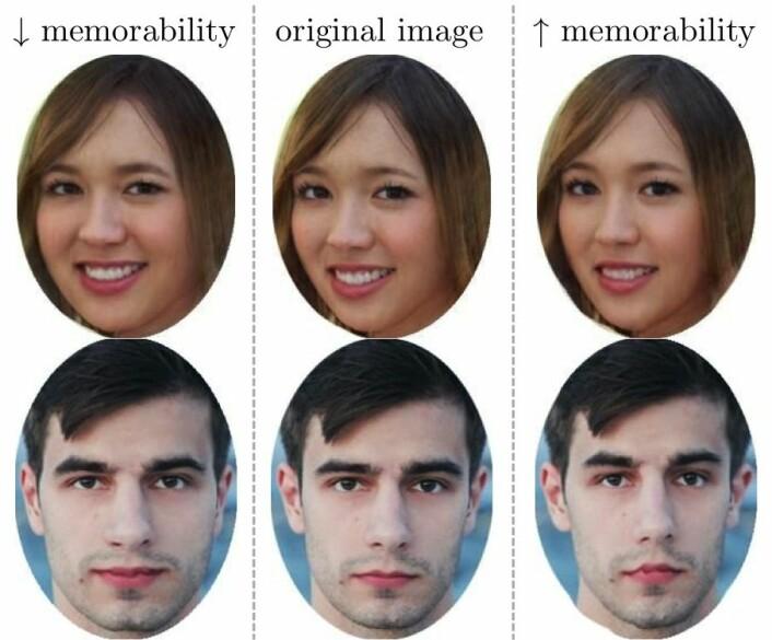 Et eksempel på at små endringer kan gjøre et fjes mer eller mindre minneverdig. Ansiktene til høyre er lettere å huske enn dem til venstre. (Foto: Mark/Sasha Kargaltsez. Bildemanipulasjon: MIT-forskerne)
