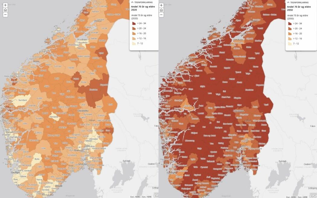 I mørkerøde kommuner er minst en firedel av innbyggerne over 70 år. Kartet til venstre viser år 2020 og kartet til høyre viser år 2050.