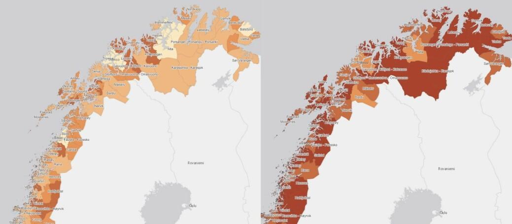Slik aldres befolkningen i nordnorske kommuner. I mørkerøde kommuner er flere enn hver fjerde innbygger over 70 år. Til venstre i 2020 og til høyre i 2050.