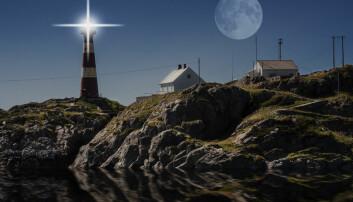 Fullmåne over Hellisøy fyr i Fedje. (Illustrasjonsfoto: colourbox.no)