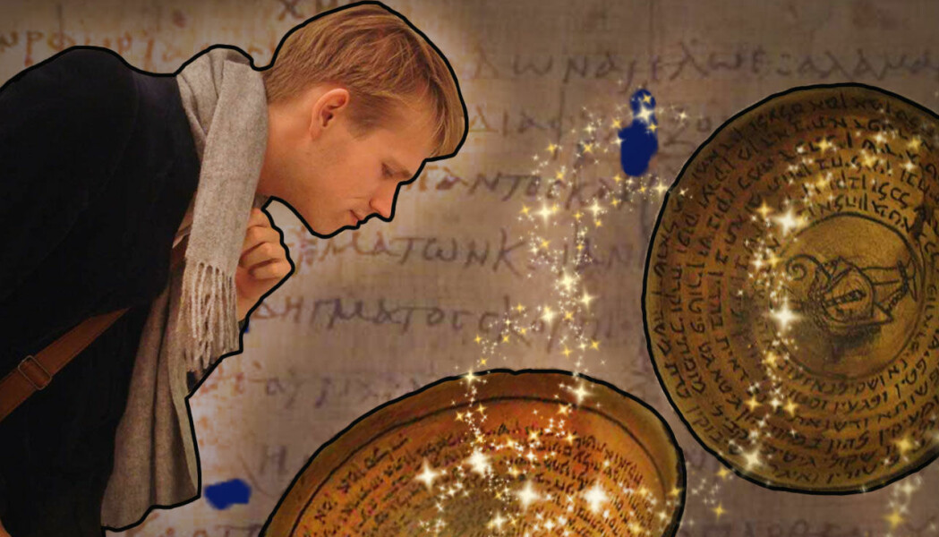 Nils forsker på det folk trodde var magiske ting. Som skåler med skrift ved døra skulle holde monstre og spøkelser unna huset.