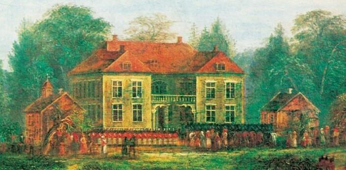 Eidsvollsbyningen på en gammel tegning. (Foto: (Bilde: Eidsvoll 1814))