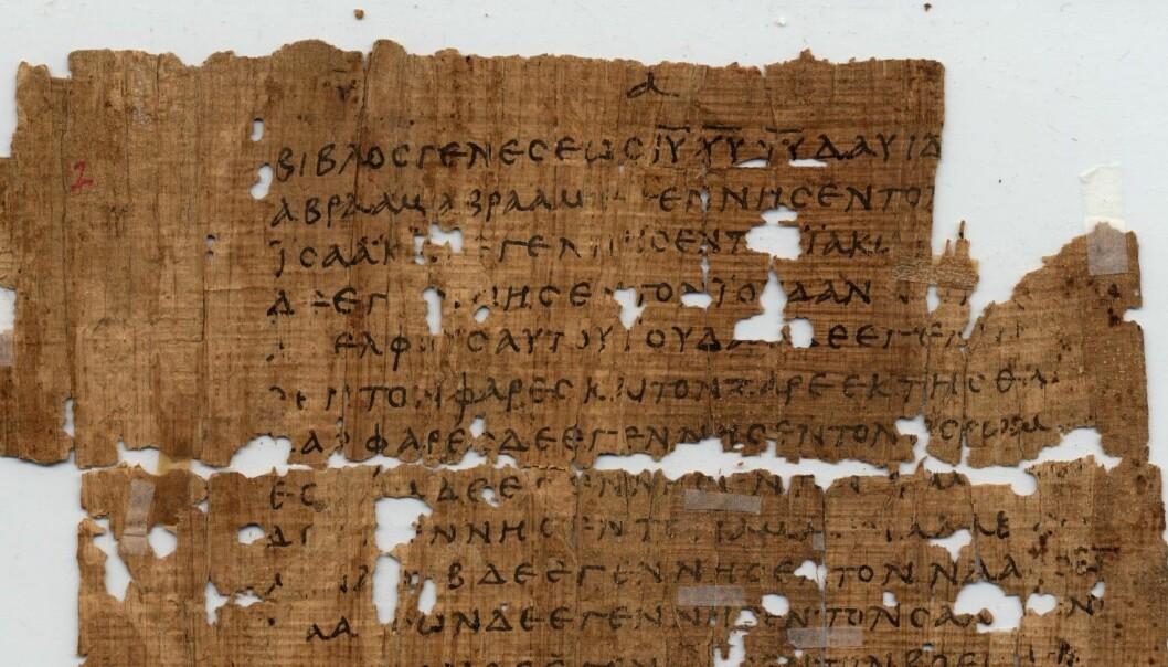 Utsnitt av forsiden på Papyrus 1. Teksten er fra Matteusevangeliet og er datert til begynnelsen av det tredje århundret.