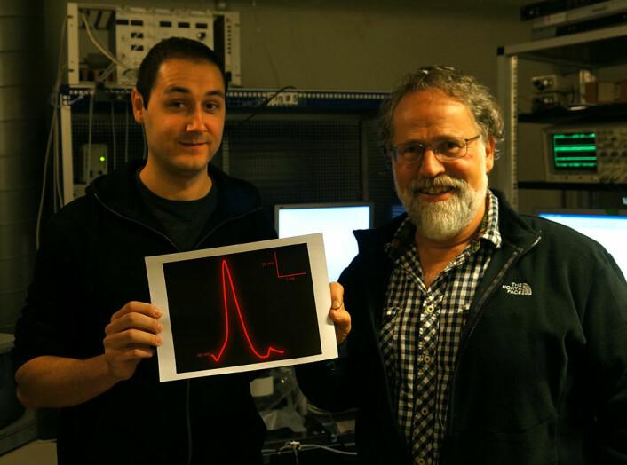 Doktorgradstipendiat Pedro Mateos-Aparicio (t.v.) og professor Johan F. Storm har for første gang i Skandinavia målt de elektriske strømmene inne i en nervefiber der den danner en synapse. De holder en figur som viser formen på en av de kraftige nerveimpulsene. Den har en varighet på bare 1/2000-dels sekund. (Foto: Arnfinn Christensen)