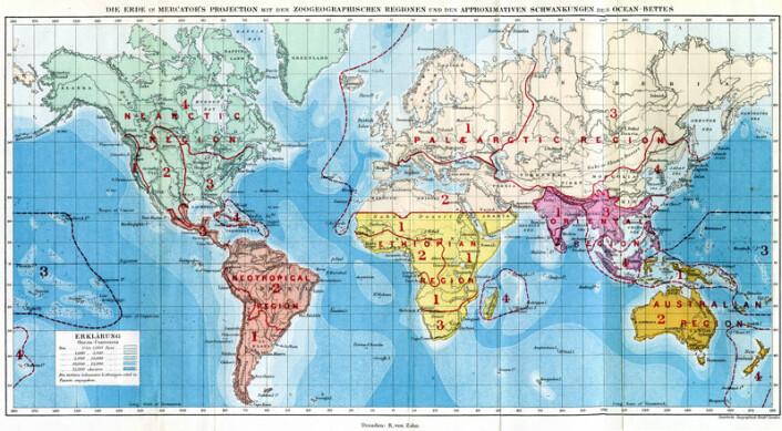 "Alfred Russel Wallace' opprinnelige kart over verdens dyreregioner, fra ""The Geographic Distributions of Animals"" (1876) (Foto: (Illustrasjon: Center for Macroecology, Evolution and Climate))"