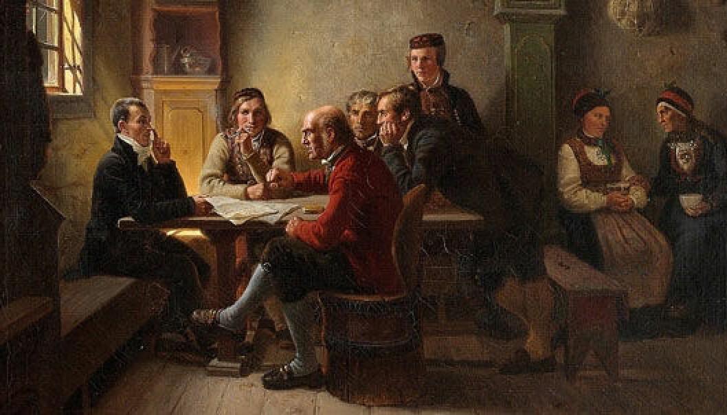 """Våren 1814 ble bøndene i Norge gjort til politiske borgere med demokratiske rettigheter. Bildet """"Politiserende bønder"""" er fra 1848. (Maleri av Adolph Tidemand)"""