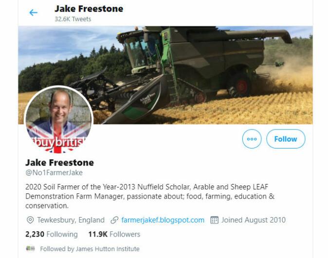 Jake Freestone fra Worcestershire i Storbritannia er en foregangsfigur innenfor direktesåing som driftsform og deler villig vekk sine erfaringer til sine over 10 000 følgere på Twitter.