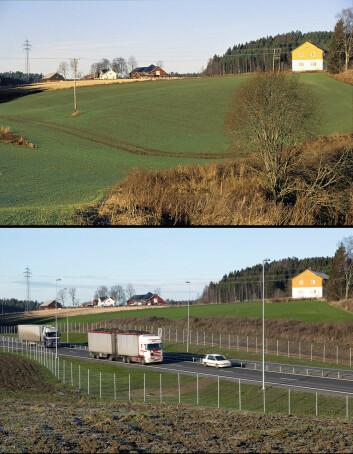 Nye veier vil ofte legge beslag på dyrket jord. Her fra utbyggingen av E18 i Askim, hvor bildene er tatt i 2003 og 2005. (Foto: Oskar Puschmann, Skog og landskap)