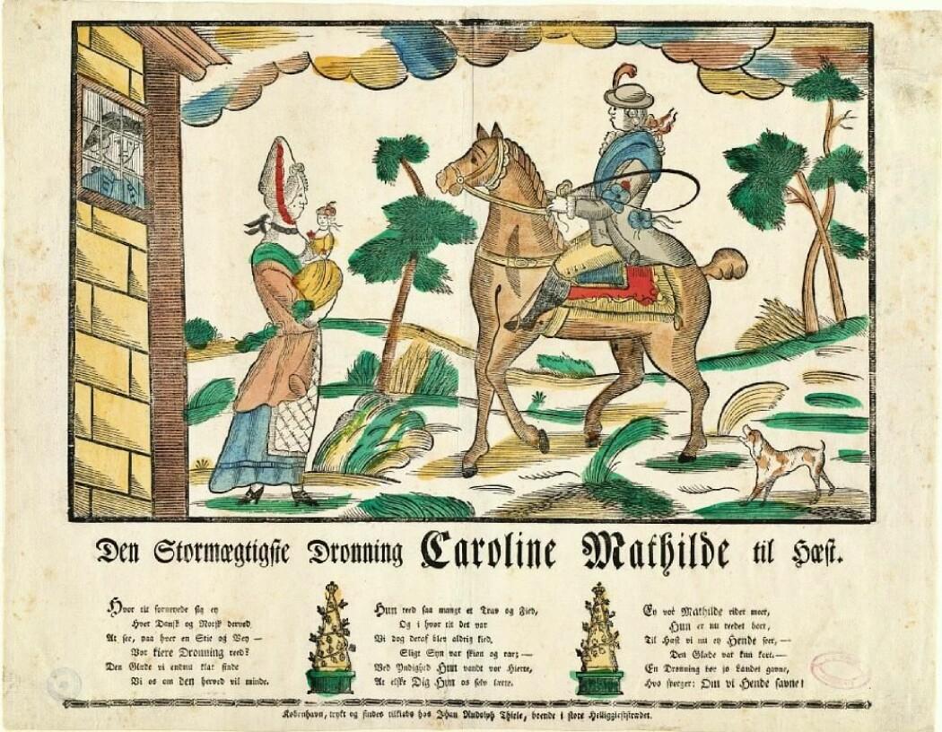 «Den Stormægtigste Dronning Caroline Mathilde til Hæst».  Satirisk kobberstikk av Johan Rudolph Thiele fra 1771, under trykkefrihetsperioden. Dronning Caroline Mathilde sitter over skrevs på hesten som en mann, mens Struensee titter ut av fangehullet på elskerinnen og barnet.