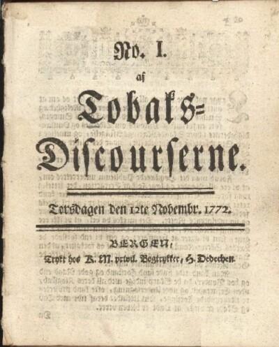 Første nummer av <i>Tobaks-discourserne</i> kom ut i Bergen, torsdag 12. november 1772