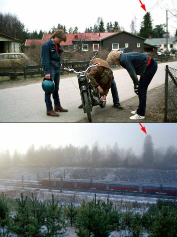Store landskapsinngrep gir ofte irreversible effekter. Her fra utbyggingen av Gardermobanen på Ullensaker. Bildene er tatt på nøyaktig samme sted i 1983 og 2003. (Foto: Oskar Puschmann, Skog og landskap)