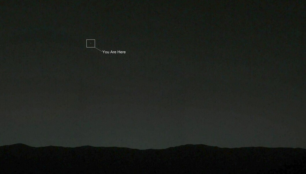 Aftenstjernen Jorda sett fra skumringen på Mars, fotografert fra det ubemannede kjøretøyet Curiosity 26.1.2008.