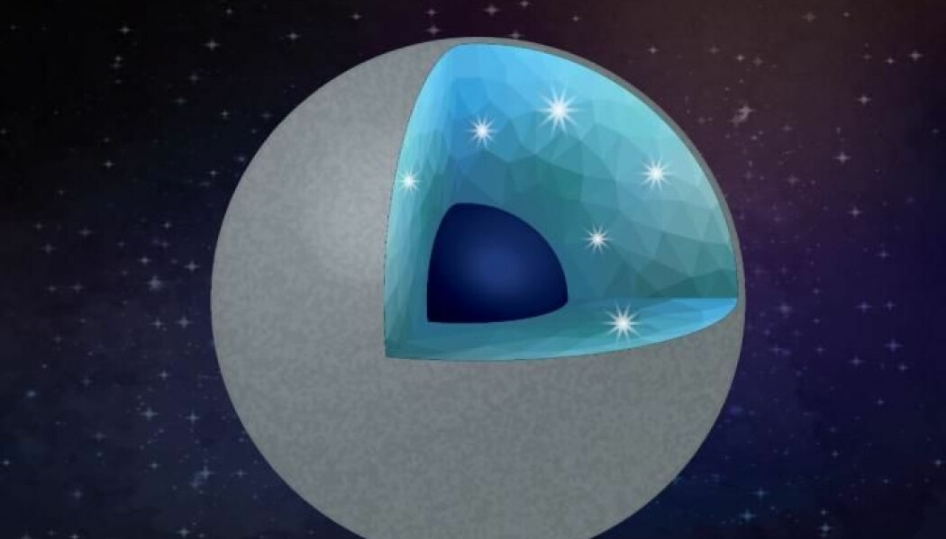 En illustrasjon av en tenkt diamantplanet. Den har en overflate av silikat, og diamanter og silisiumdioksid i det indre.
