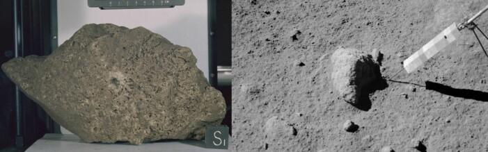 Steinen Great Scott ble samlet inn av Apollo 15 i 1971, og er den nest største månesteinen samlet inn. Til høyre kan du se den før den ble røsket opp av månestøvet og tatt med hjem.