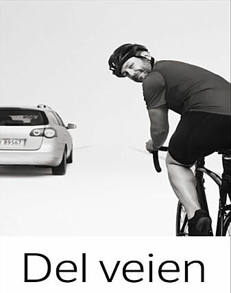 Dette skiltet ble satt opp i områder der det ofte ble konflikter mellom syklister og bilister.