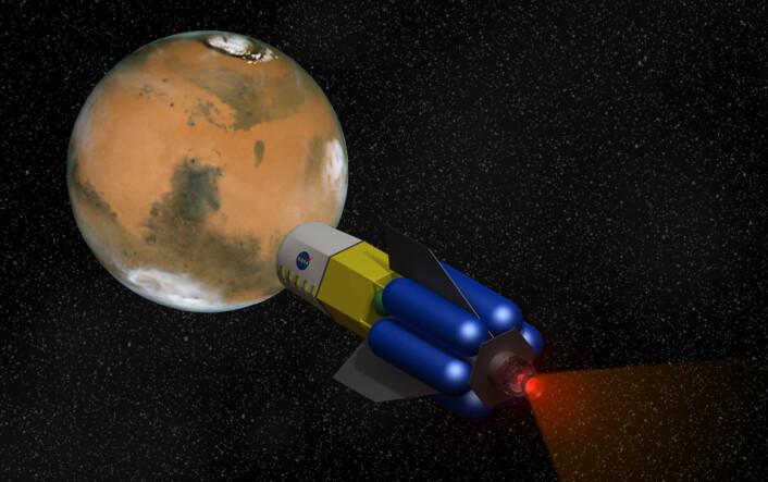 Rakettmotoren Fusion Driven Rocket utvikles av firmaet MSNW, med støtte fra NASA. Den kan korte ned reisetiden til Mars og andre kloder dramatisk, og bety en revolusjon for bemannede romferder. (Foto: (Illustrasjon: NASA/MSNW, bearbeidet av forskning.no))