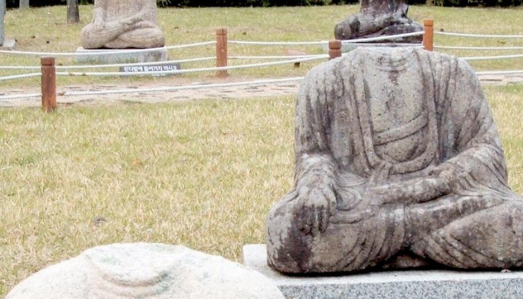 Statuer av Buddha som har fått hodene kappet av. Denne type plyndring er svært vanlig i deler av Asia. Hodene er lette å transportere, og populære samlerobjekter i Vesten. Flickr/buck82