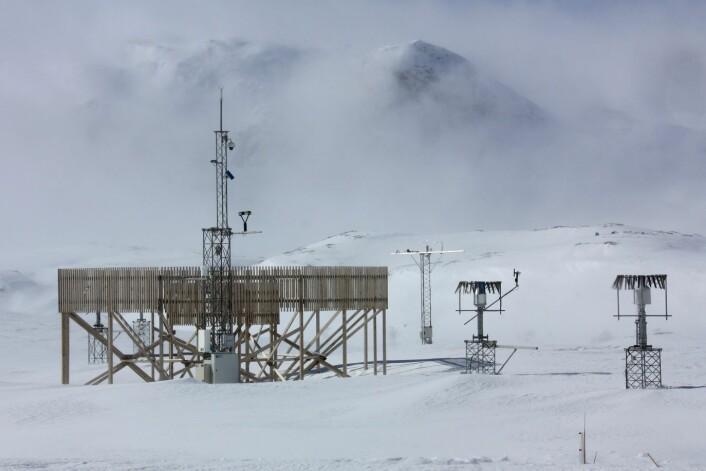 Det blåser mye på Haukelifjell, men en spesialbygd nedbørmåler bremser vinden og fanger opp snøen. Inntil 80 prosent av snøen fyker forbi de to vanlige nedbørmålerne til høyre. (Foto: Roy Rasmussen)