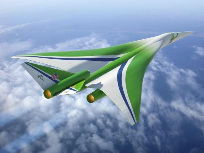 Denne framtidsstudien av et supersonisk passasjerfly ble for første gang vist i april 2010. Plasseringen av motorene under vingen skal redusere overlydssmellet. (Foto: (Illustrasjon: NASA/Locheed Martin Corporation))