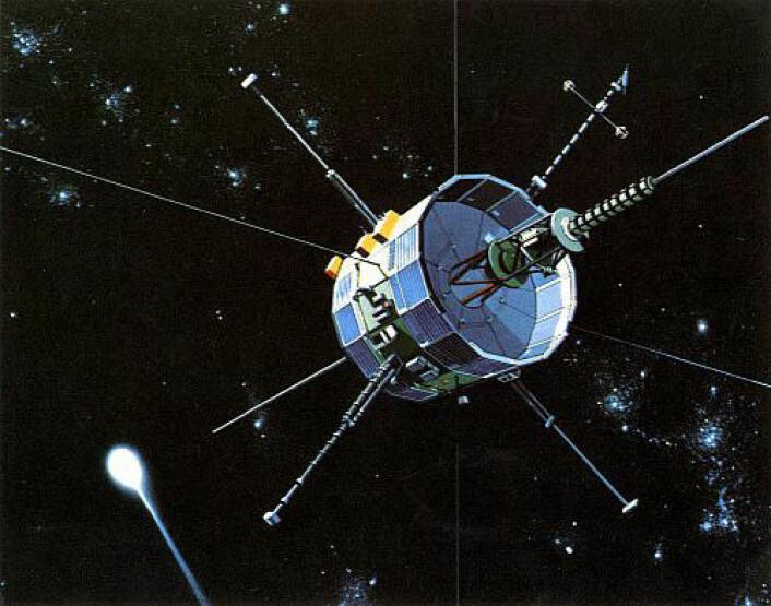 Romsonden ISEE-3, omdøpt International Cometary Explorer (ICE), underveis mot komet Giacobini-Zinner, og noen måneder senere komet Halley, i 1985/86. (Foto: (Illustrasjon: NASA))
