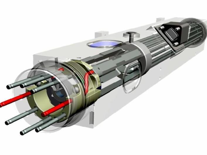 Her er selve hjertet i atomklokka, hvor kvikksølvatomene utsettes for energi. (Foto: (Illustrasjon: NASA/JPL))