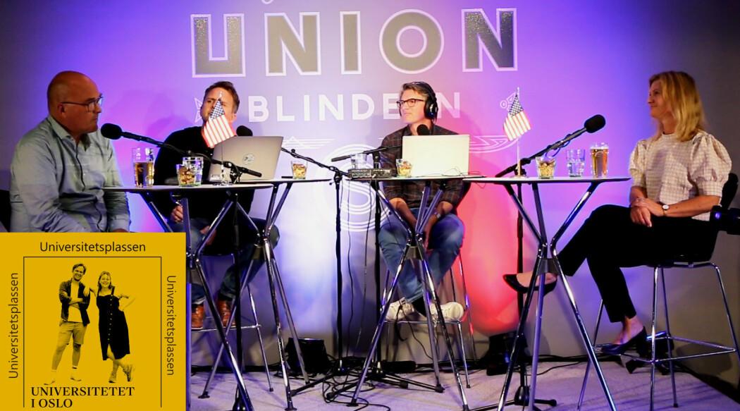 Retorikk og media er temaet når Kjell Lars Berge (t.v.), Gjermund Eriksen, Shaun Matheson og Gunn Enli møtes i Universitetsplassen LIVE.