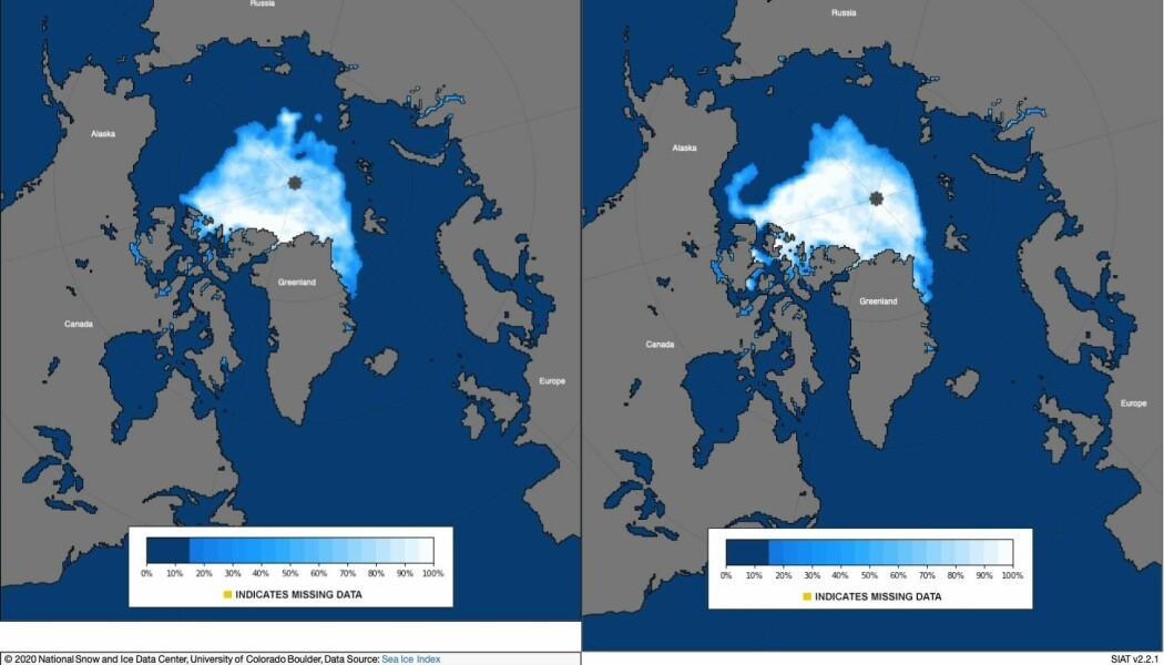 Bildet viser minimumsutbredelsen av is i rekordåret 2012 (venstre) og 2020, som er det nest laveste målt.