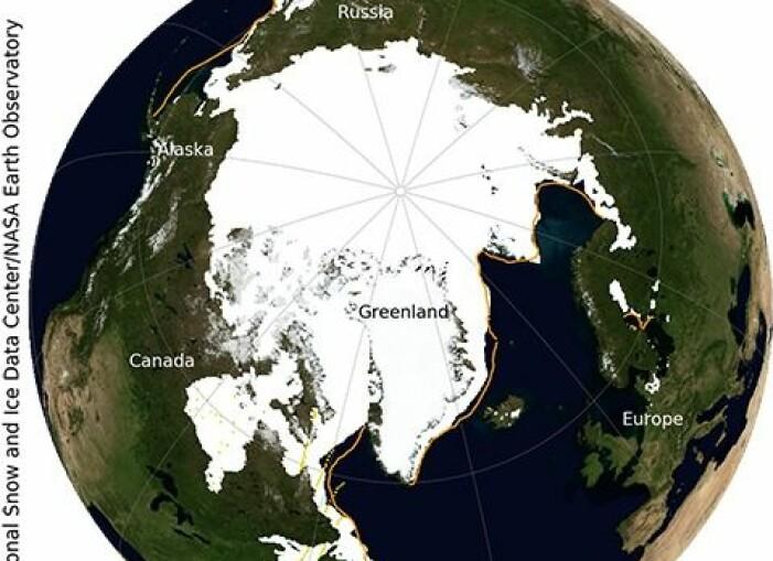 Bildet viser den maksimale utbredelsen av isen i 2019, til sammenligning. Og det er bare syv år under 2019 som har hatt lavere utstrekning om vinteren.