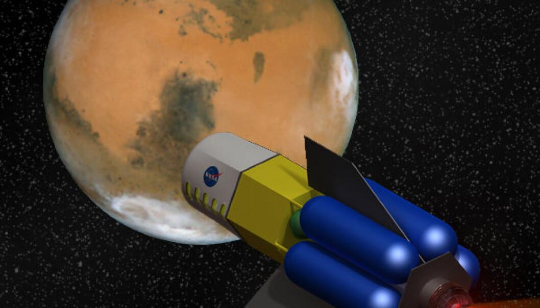 Fusion Driven Rocket, utviklet av firmaet MSNW med støtte fra NASAs framtidsavdeling NIAC. (Illustrasjon: NASA/MSNW, bearbeidet av forskning.no)