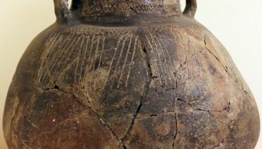 I neolitikum forandra demografi og kultur i Europa seg voldsomt. Denne artifakten er omtrent 4000 år gammel og stammer området som i dag er Tyskland. Wikimedia commons