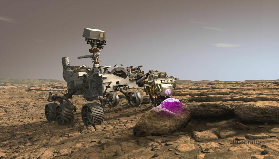Instrumentet PIXL sitter på tuppen av robotarmen til Perseverance. Det ka bruke røntgenstråler til å se inn i stein.
